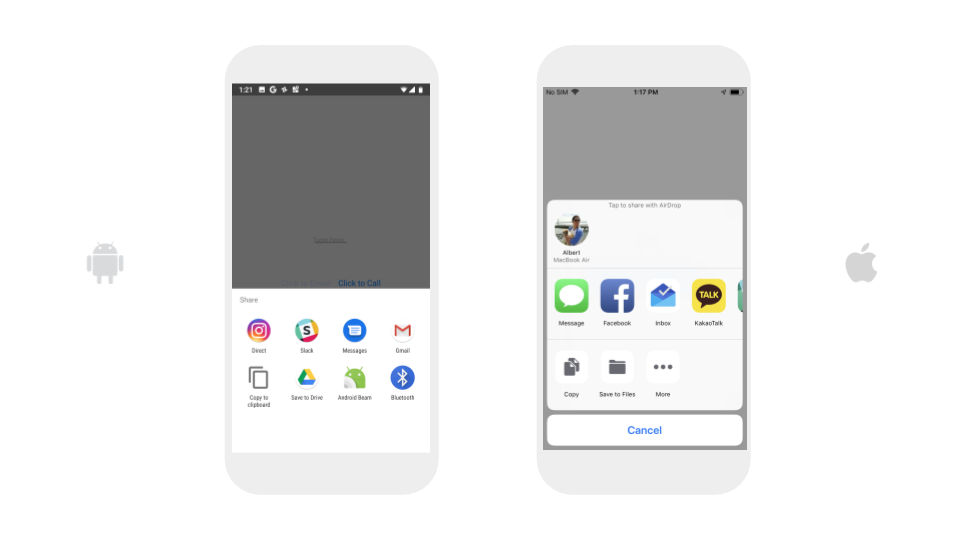 The screenshots above are from a Pixel 3 and an iPhone 7