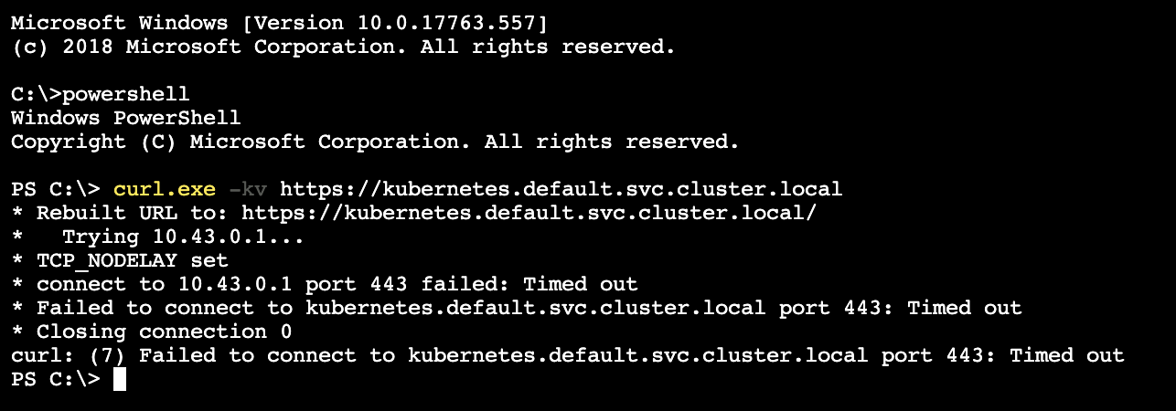 Could not access default Kubernetes Service inside Windows