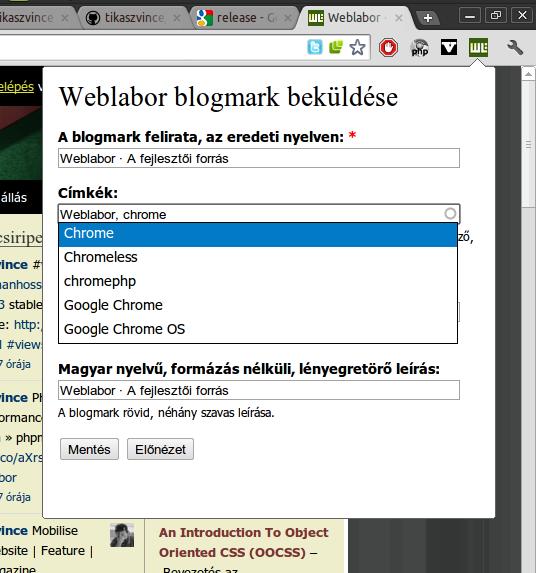blogmark beküldése képernyőkép