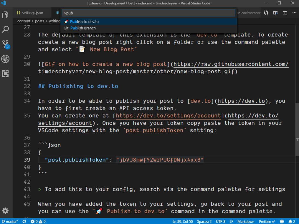 Image showing how to publish to dev.to