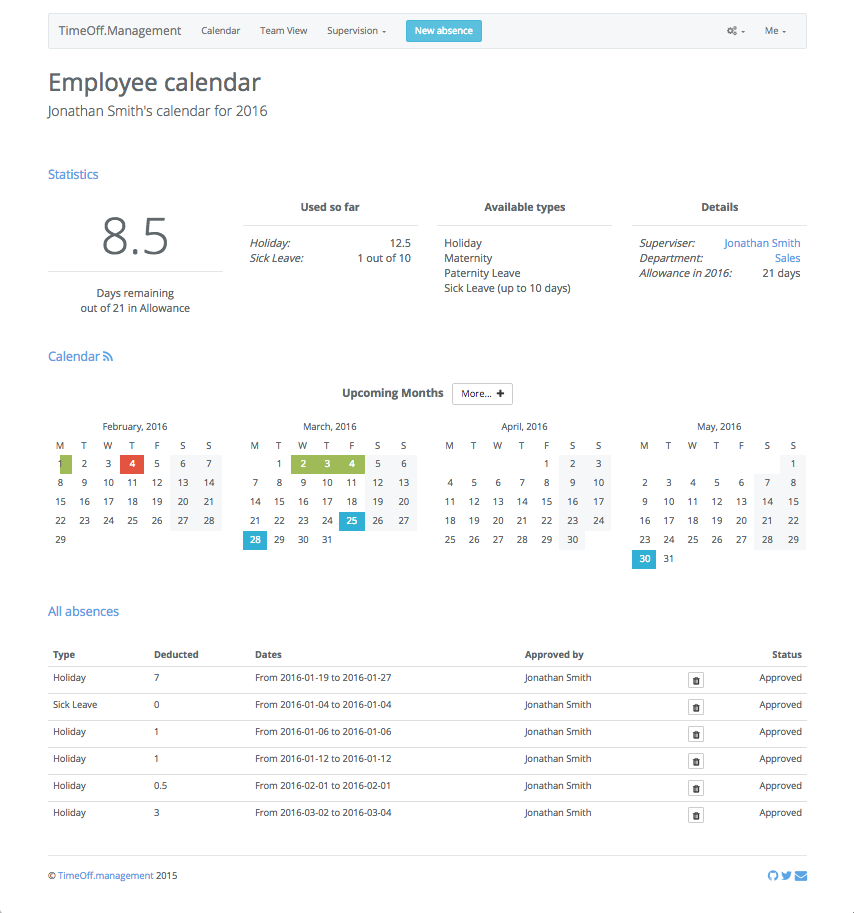TimeOff.Management Screenshot