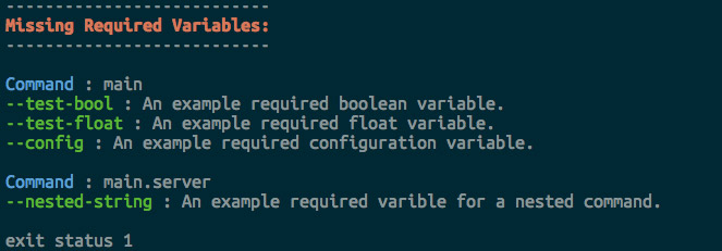 required variables