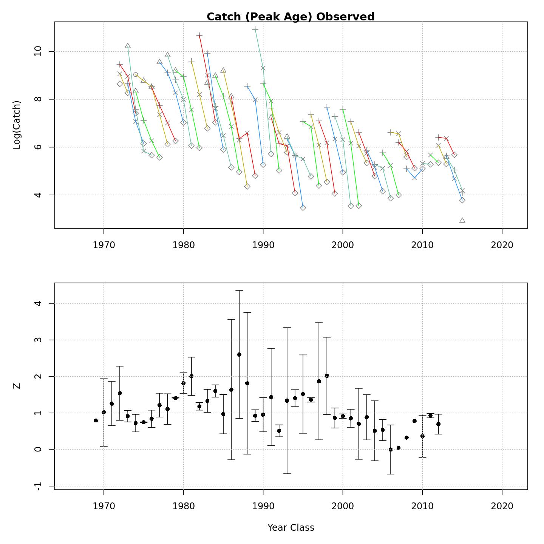 Catch curves (Fleet 1 observed)
