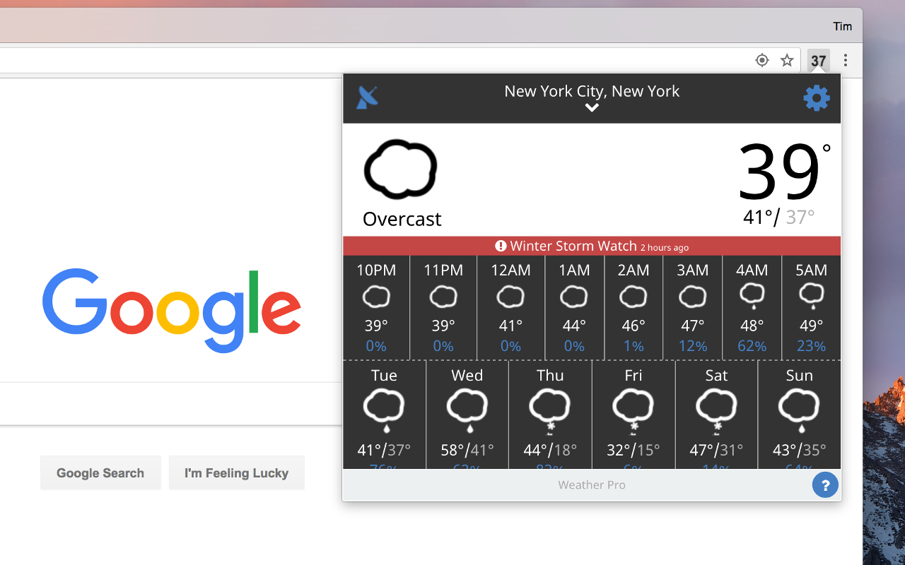 Screenshot of Weather for Chrome