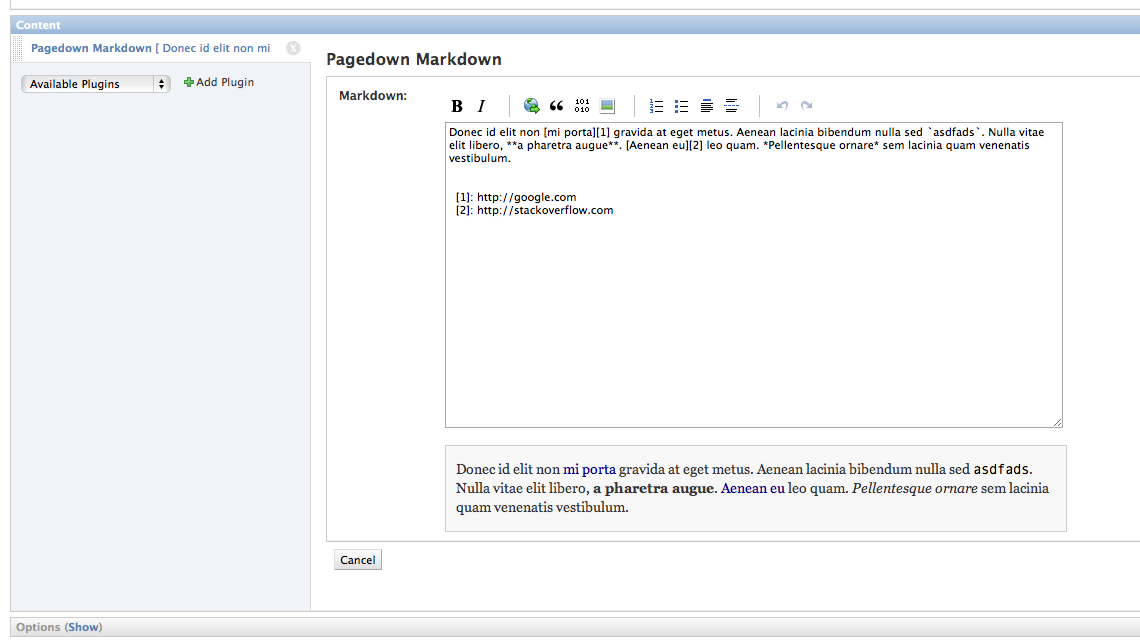 Screenshot of a CMS placeholder using pagedown