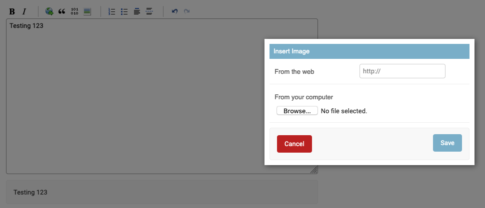 Screenshot of Django Admin with image upload enabled