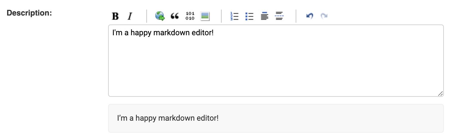 Screenshot of Django Admin with Pagedown initialised