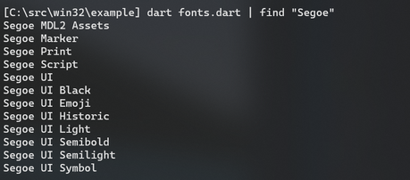 Fonts screenshot