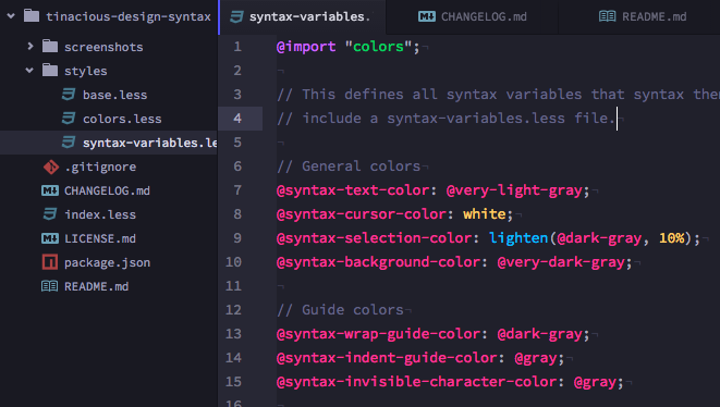 Syntax theme LESS syntax