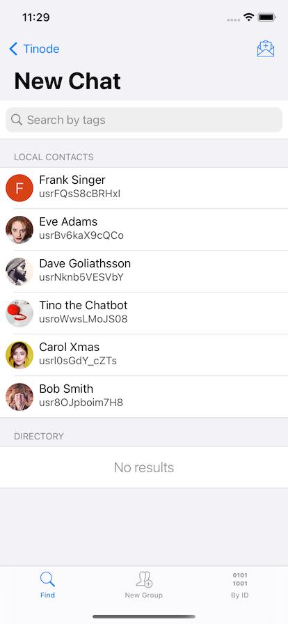 App screenshot - find people