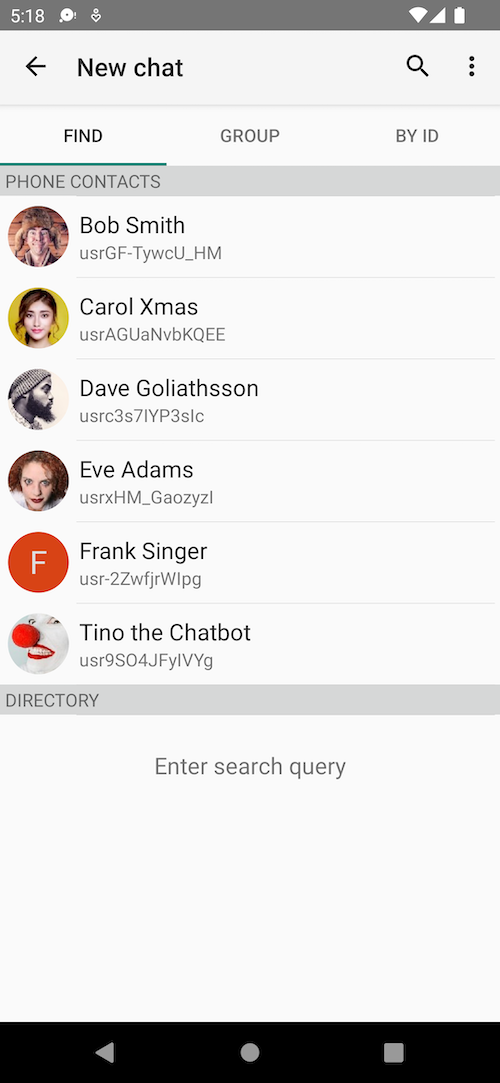App screenshot - searching for contacts