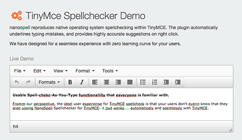 TinyMce Spellchecker Demo - click for full size