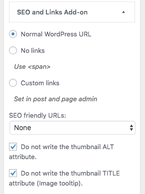 Set SEO and link options to get more specific HTML