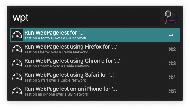 A screenshot showing the various commands for the WebPageTest Alfred workflow