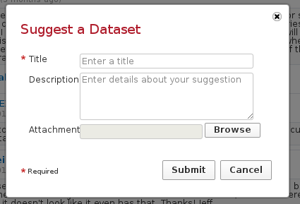 """Suggest a Dataset"" form"
