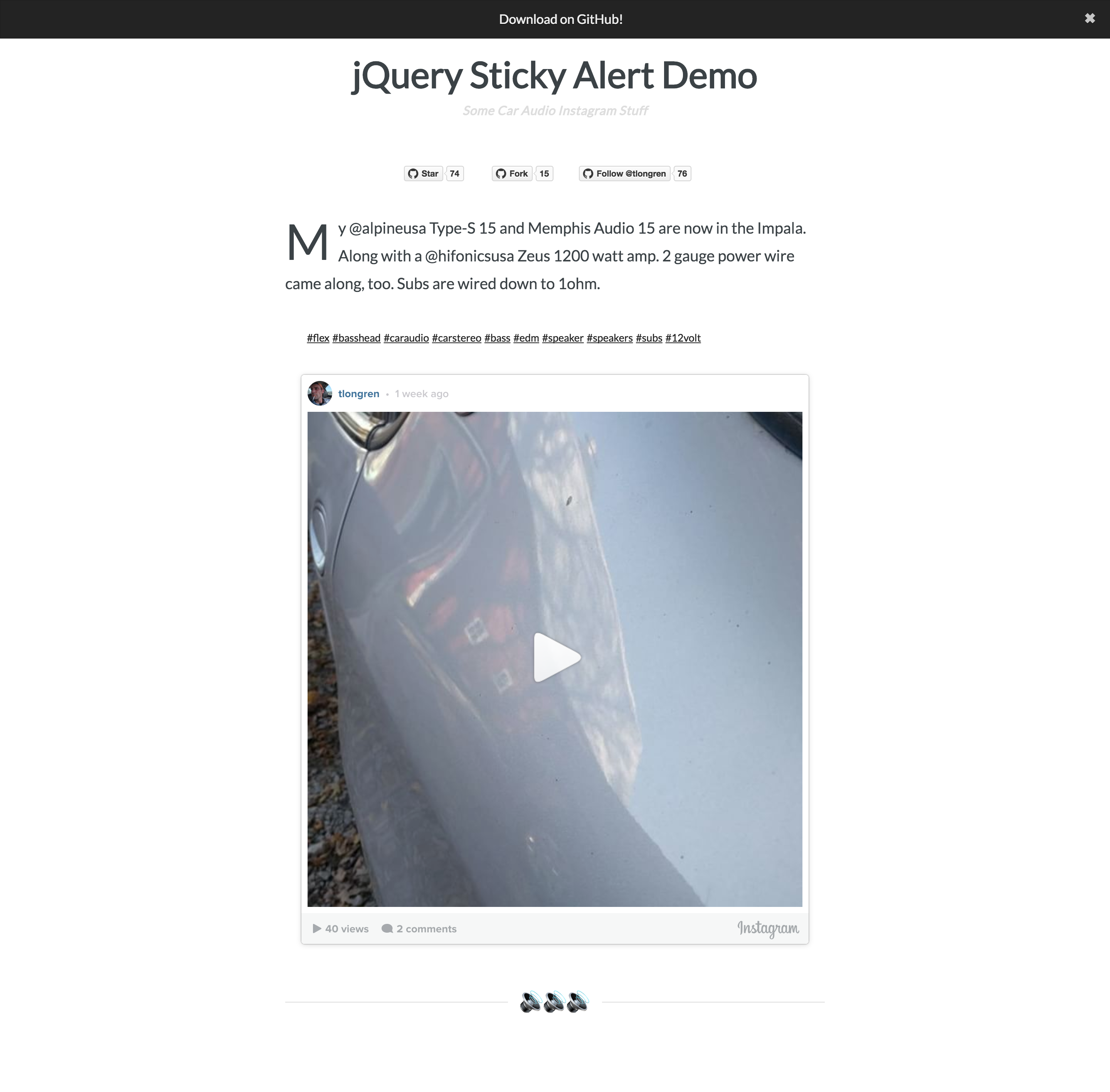 jQuery Sticky Alert Screenshot
