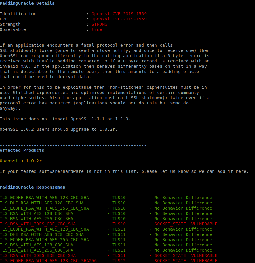 TLS vulnerability fingerprint