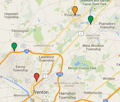 Map of past and current hospitals in the Princeton area