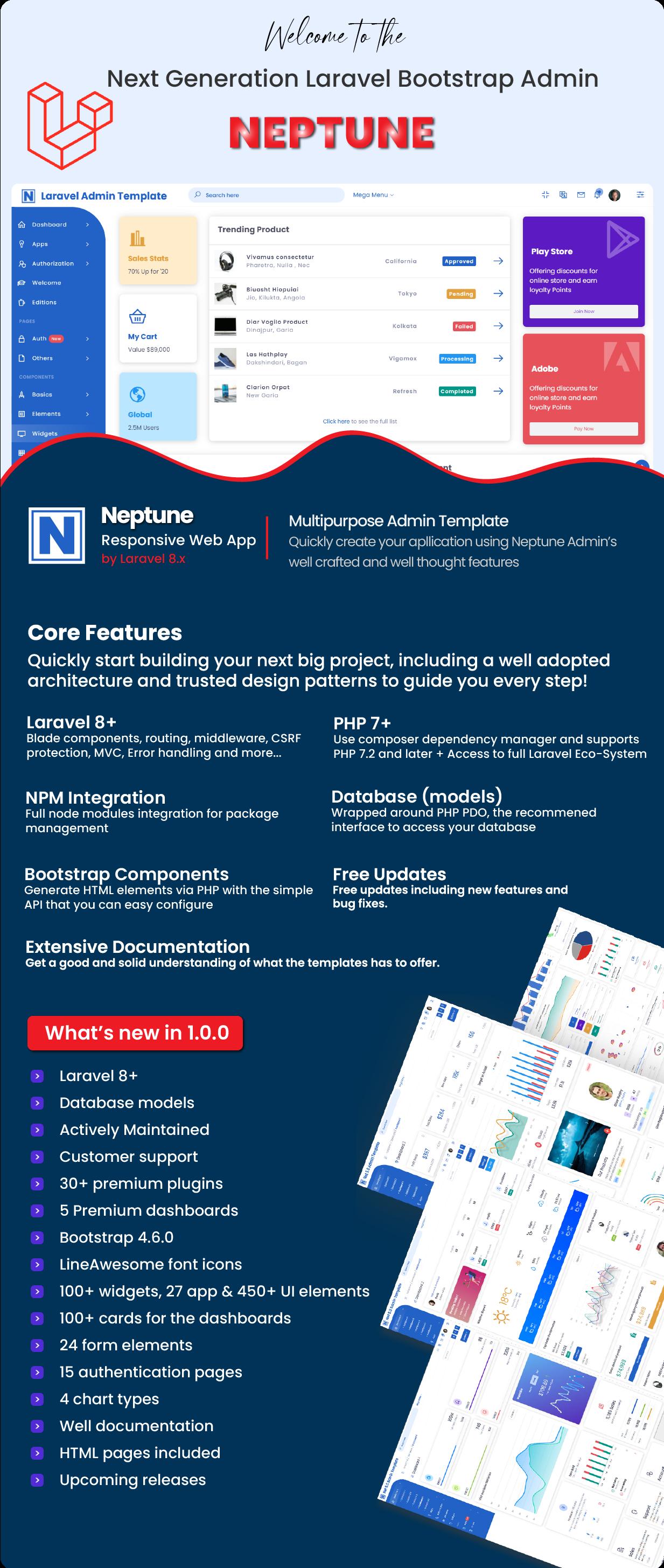 Neptune Laravel Admin UI Template - 2