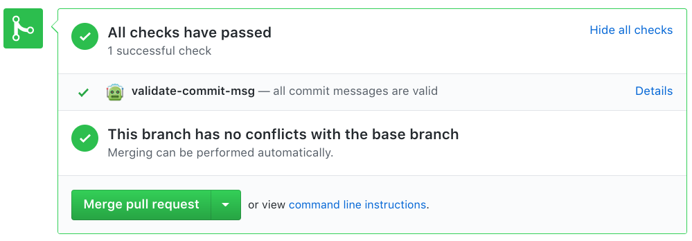 Screenshot of validate-commit-msg-bot app