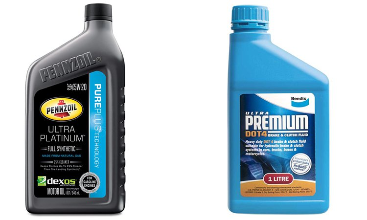 Many automotive fluids come in very similar-looking bottles.