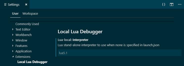 """lua-local.interpreter"": ""lua5.1"""