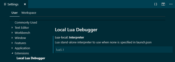 """lua-local.interpreter"": ""lua5.1"""
