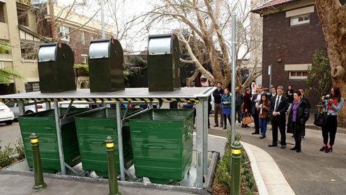 Magic bins when fully raised up, showing the bigger bins below