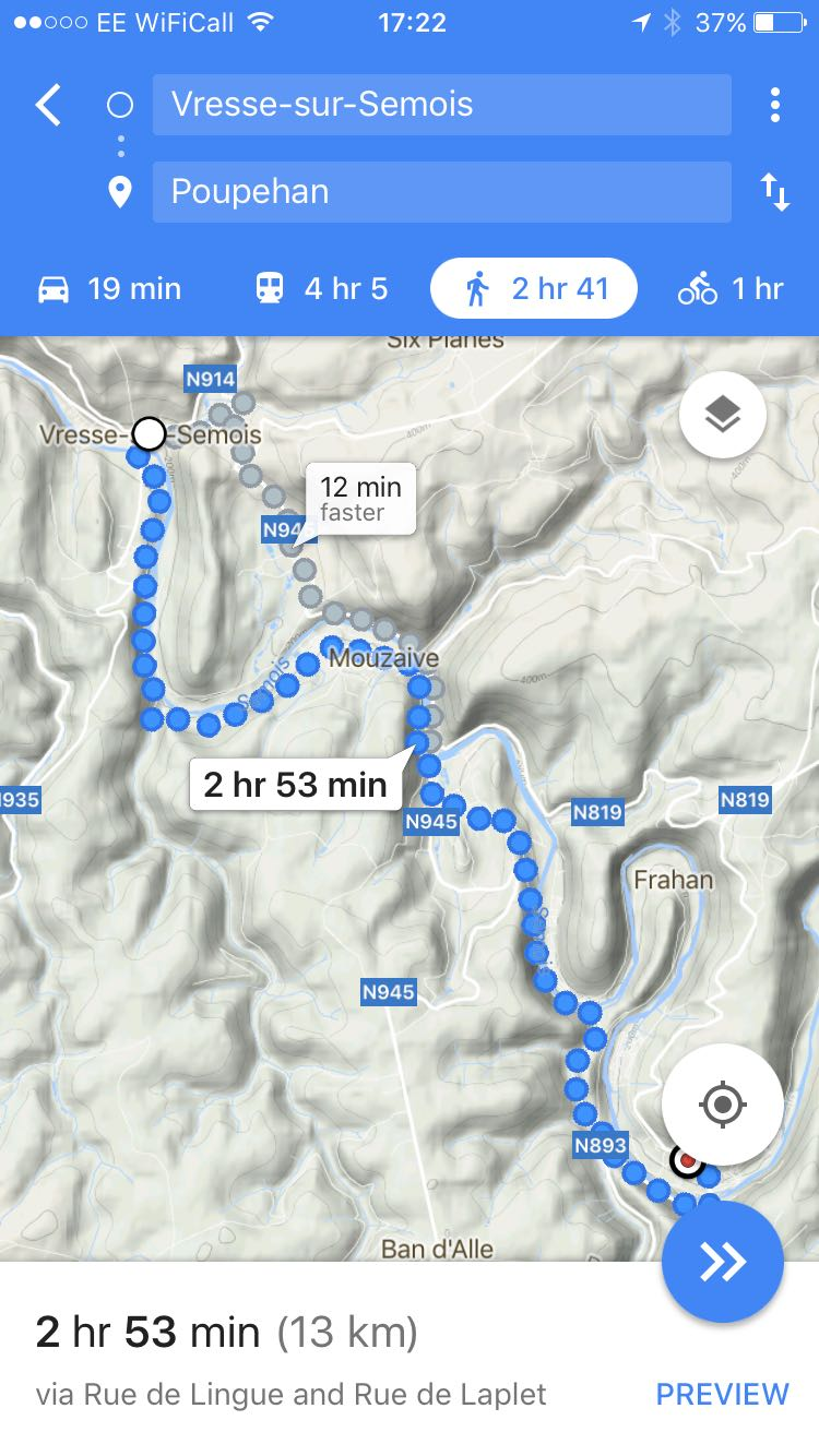 A walking route on Google Maps