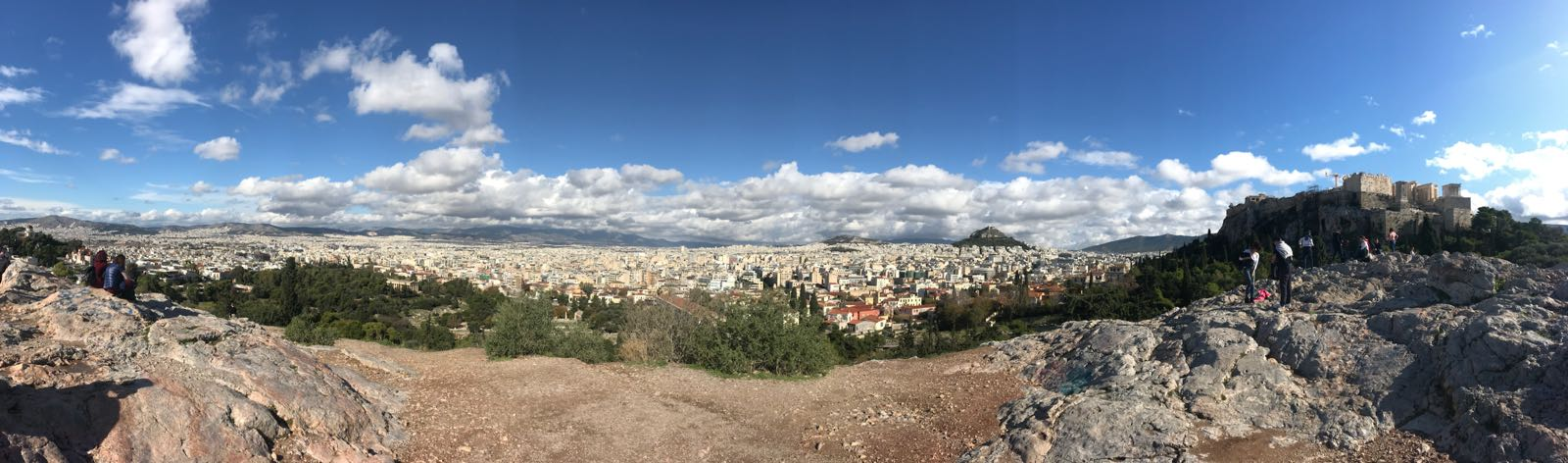 Panorama of Athens from a rocky hill next to the Acropolis