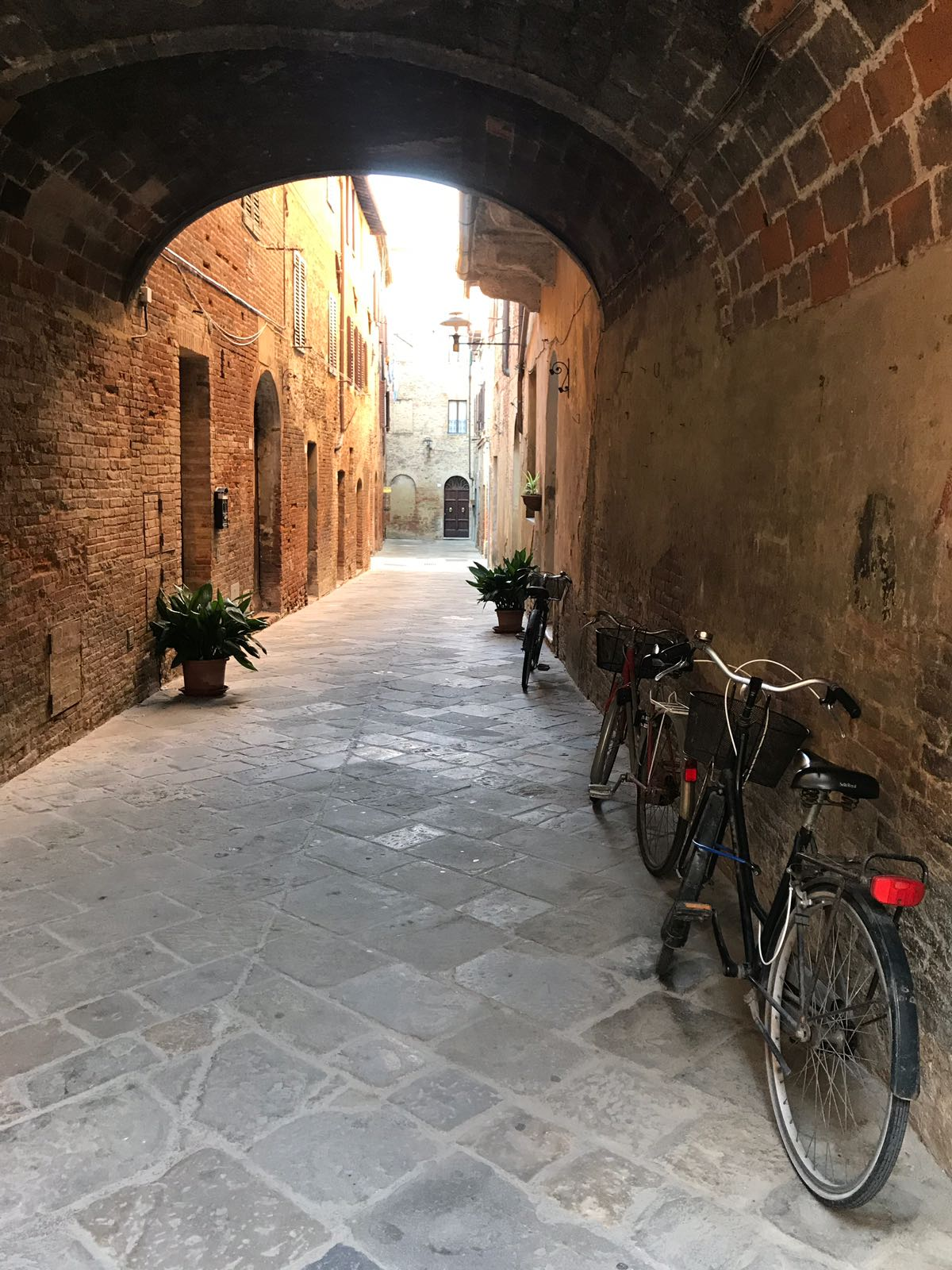 An alleyway in Buon Convento with bicycles propped against the wall