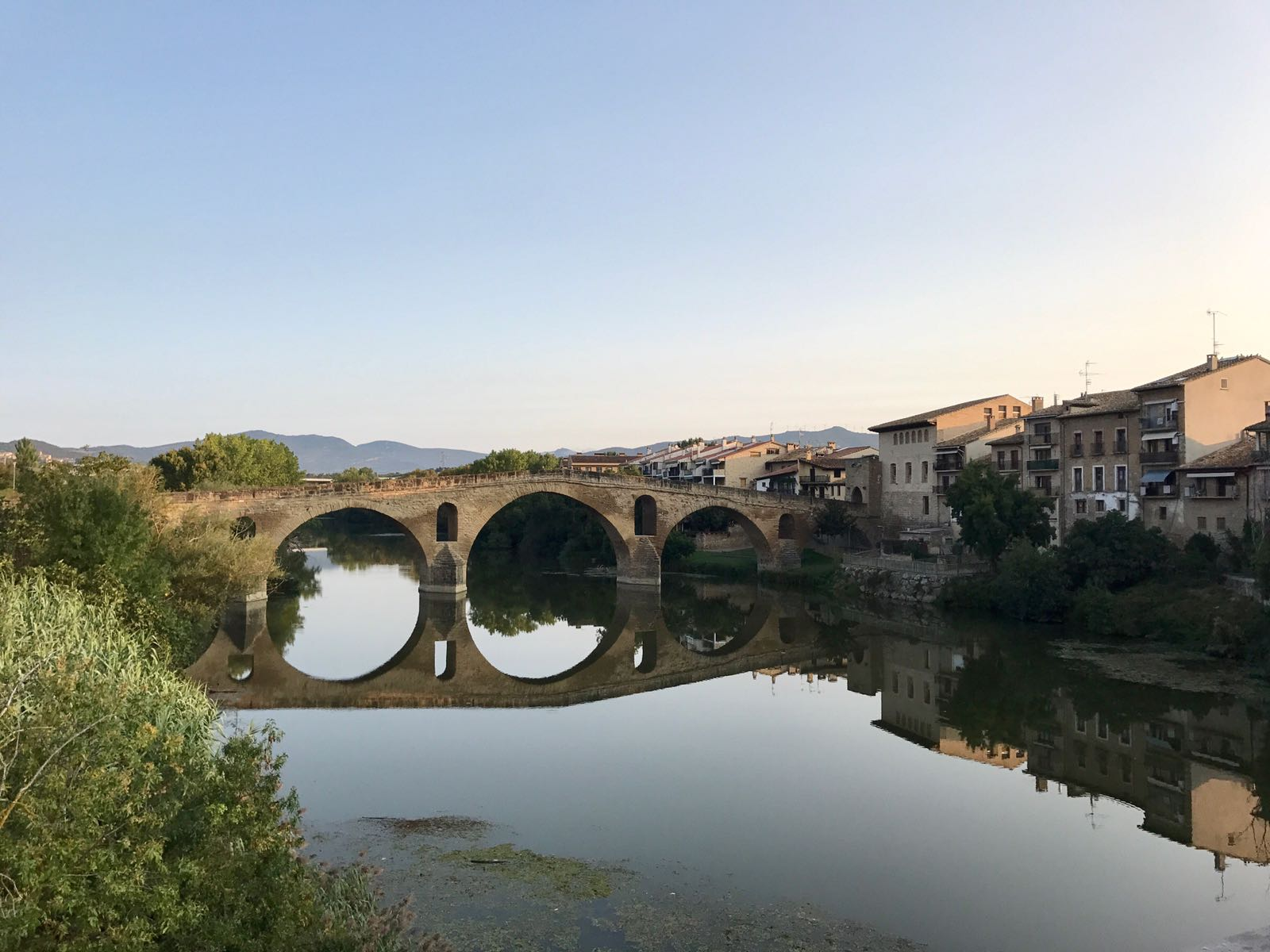 Bridge outside the town of Puenta la Reina, reflected in the river it crosses