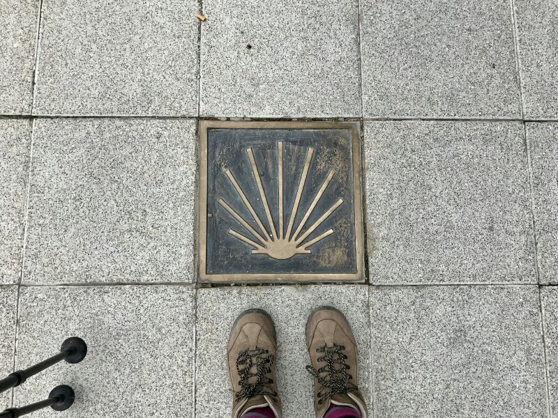 bronze camino shell on the ground with feet and poles