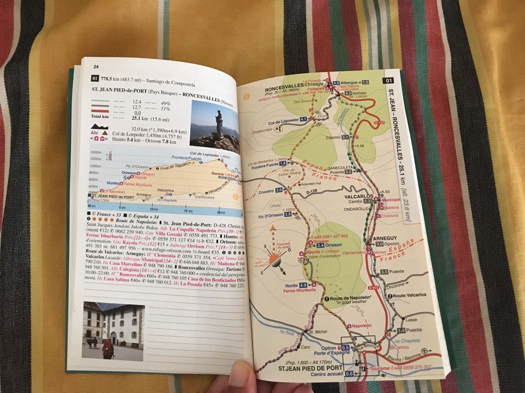 Inside our Camino de Santiago maps book showing a map of the first route