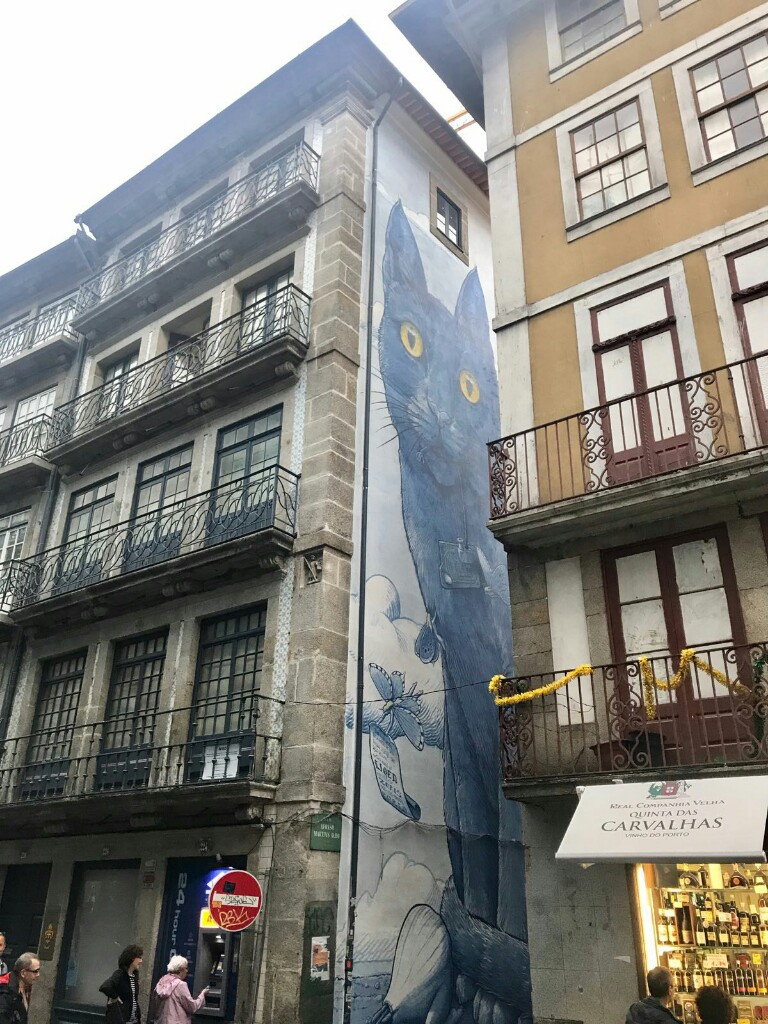 Mural of a giant cat peaking out from between two buildings in Porto