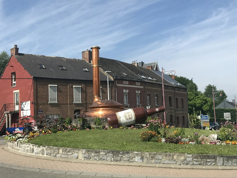 chimay roundabout with beer paraphernalia