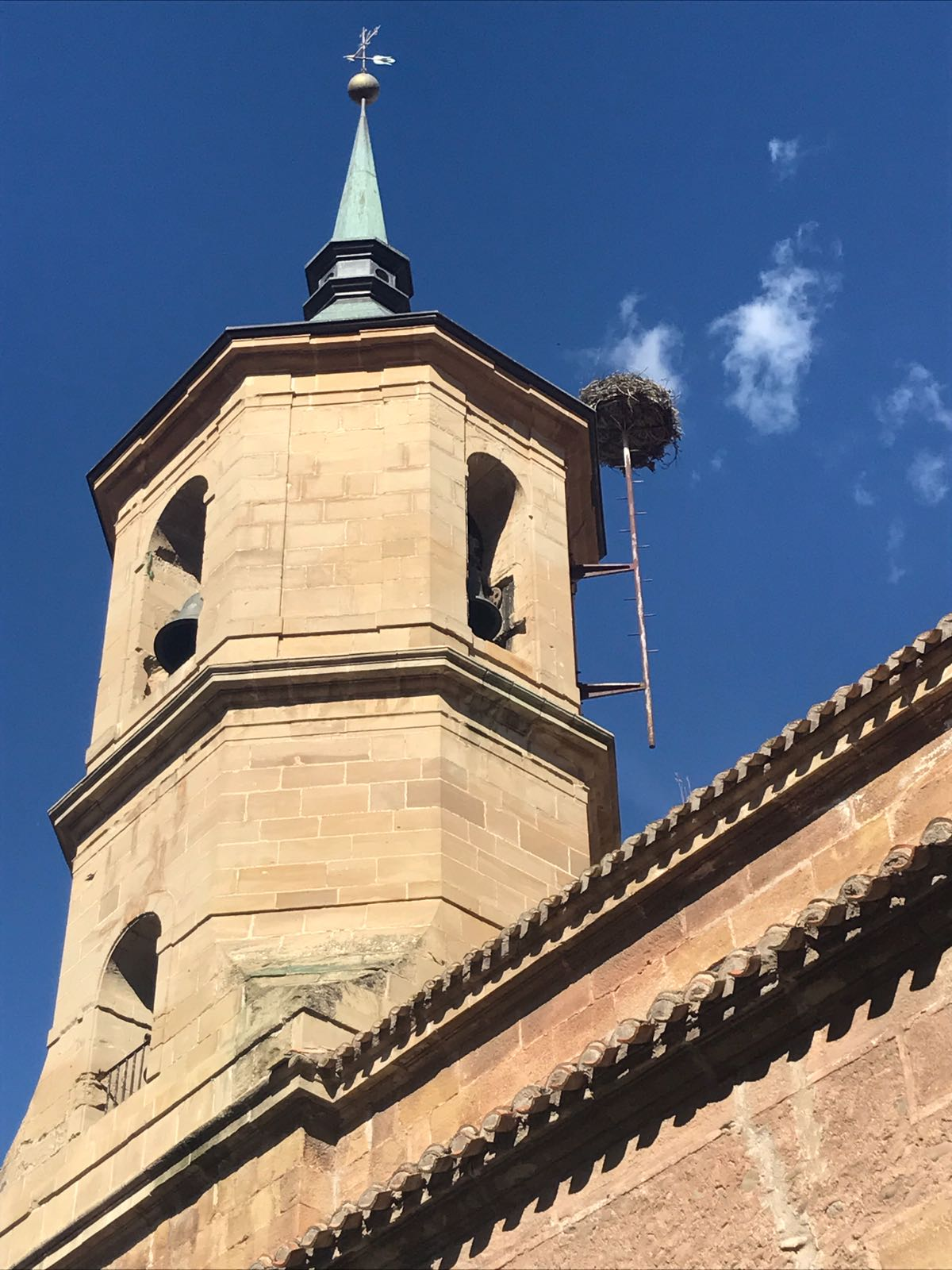 Church in Najera with a separate platform supporting a birds nest