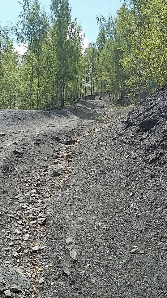 Trail, half way up a slag heap left over from mining