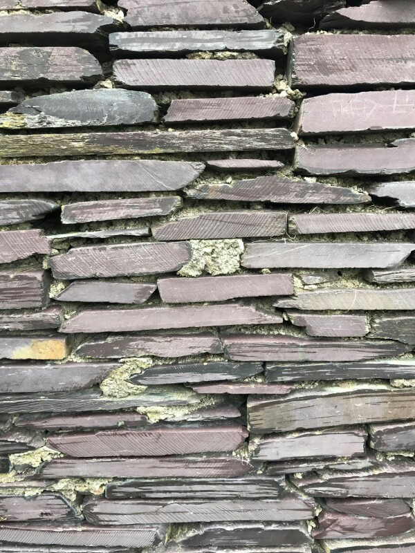 Close-up of a slate wall in Fumay