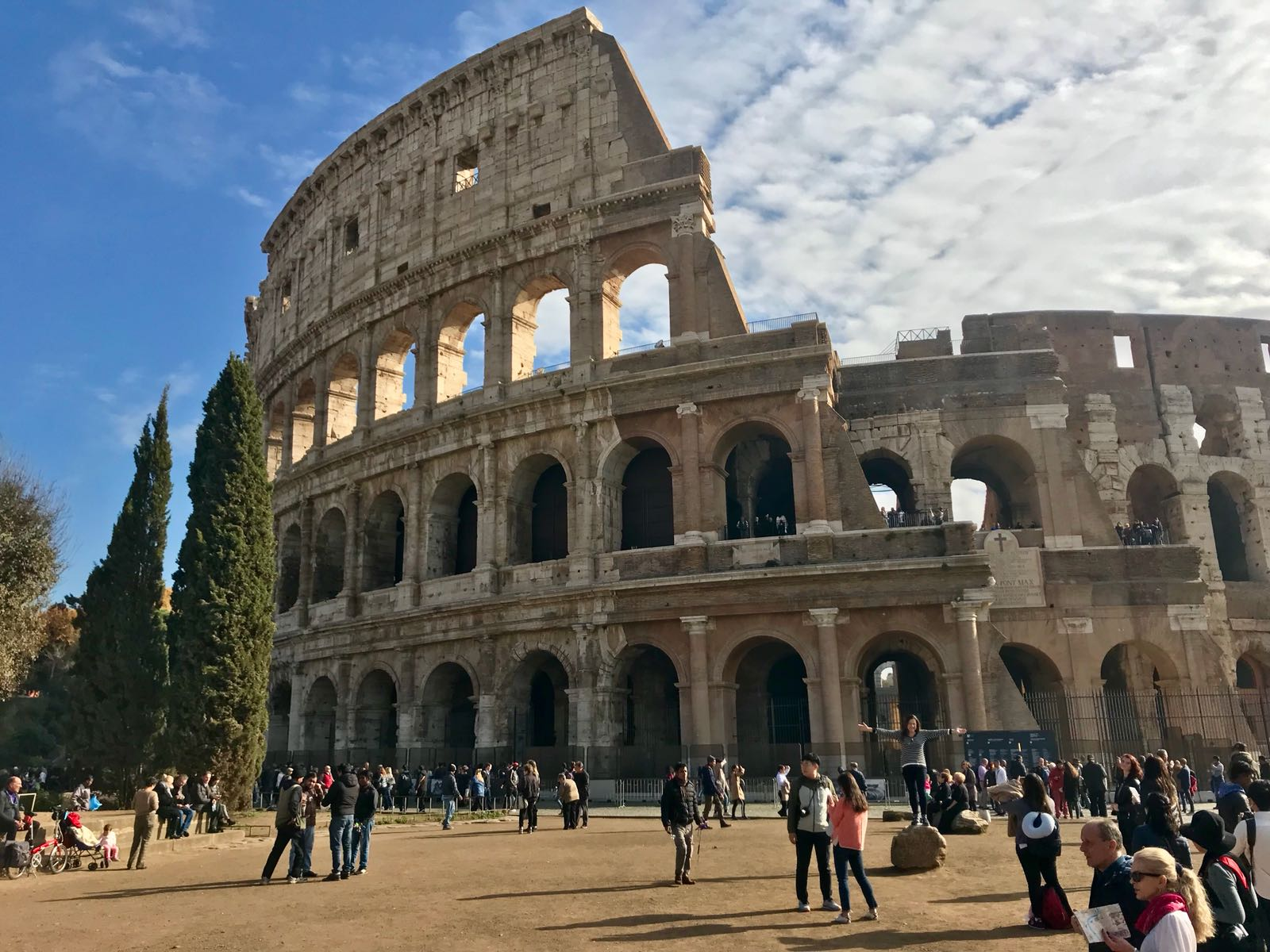 The Colosseum in Rome, from the outside with a crowd in front