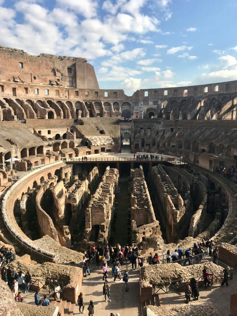 The Colosseum in Rome, from the inside showing the area below the floor of the arena for gladiators and animals