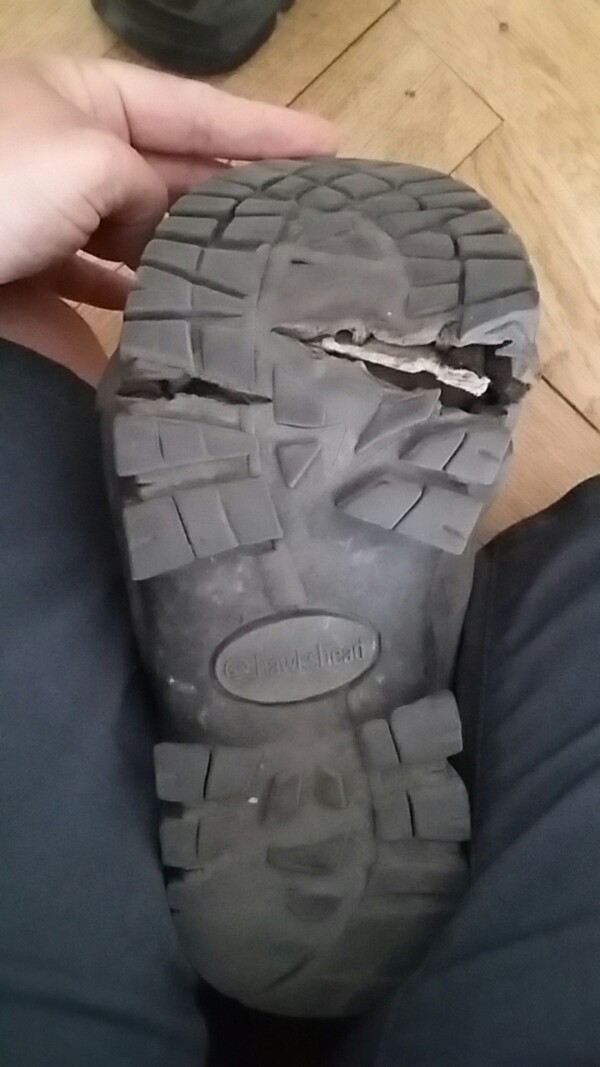Tom's boot sole with the crack in it opened up