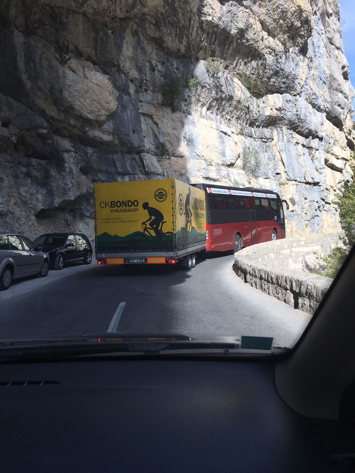 Czech cycling team's bus, ahead of our car on the road alongside the Gorges du Verdon