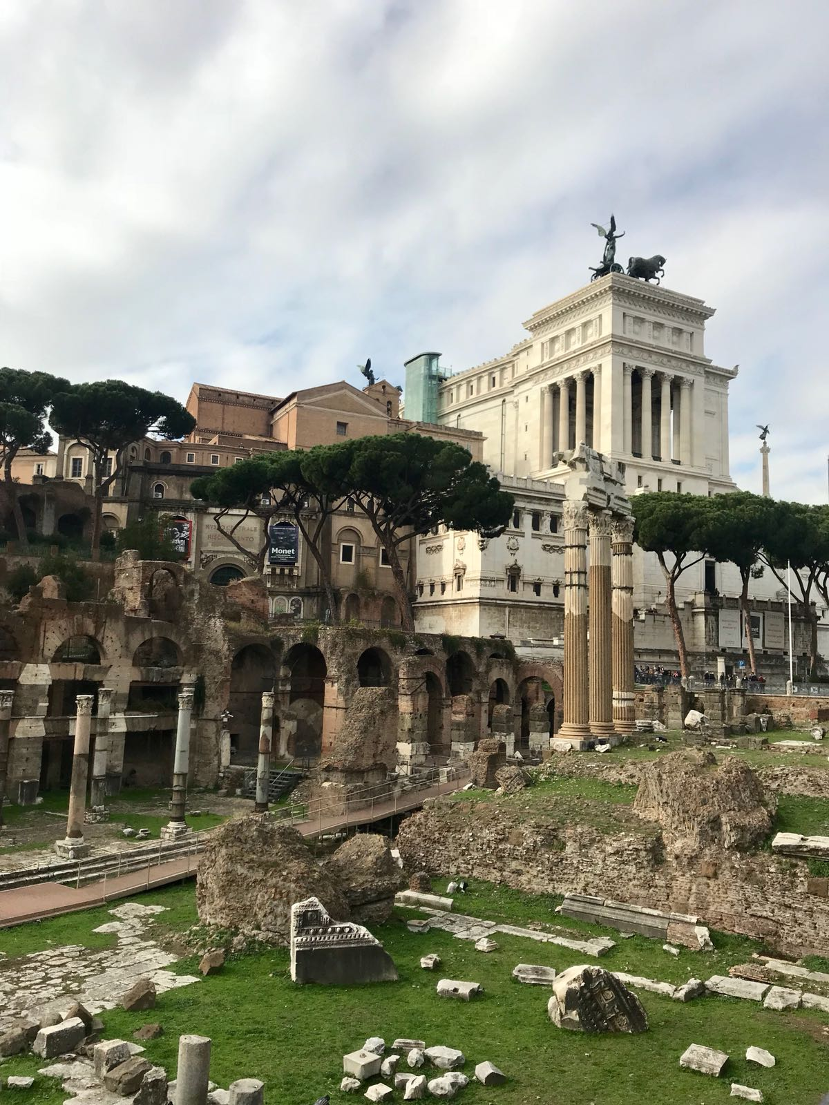 The Forum in Rome with the Altar of The Fatherland building in the background