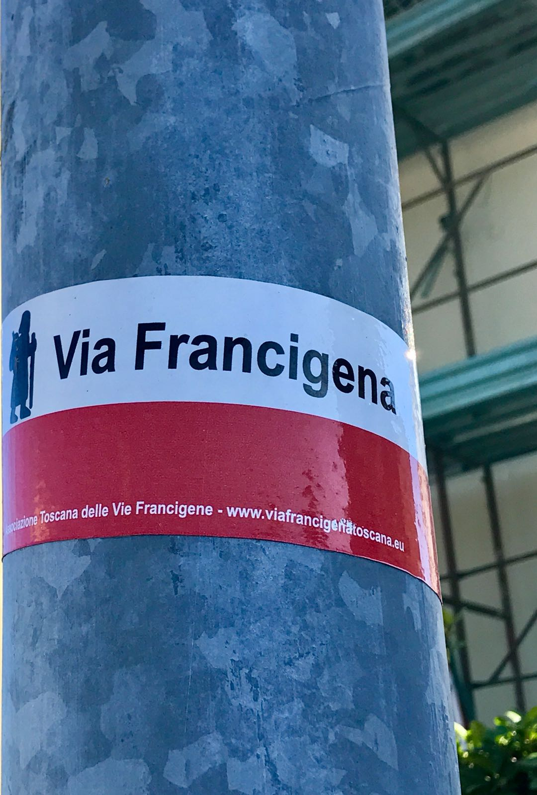 Sticker marking the Via Francigena route