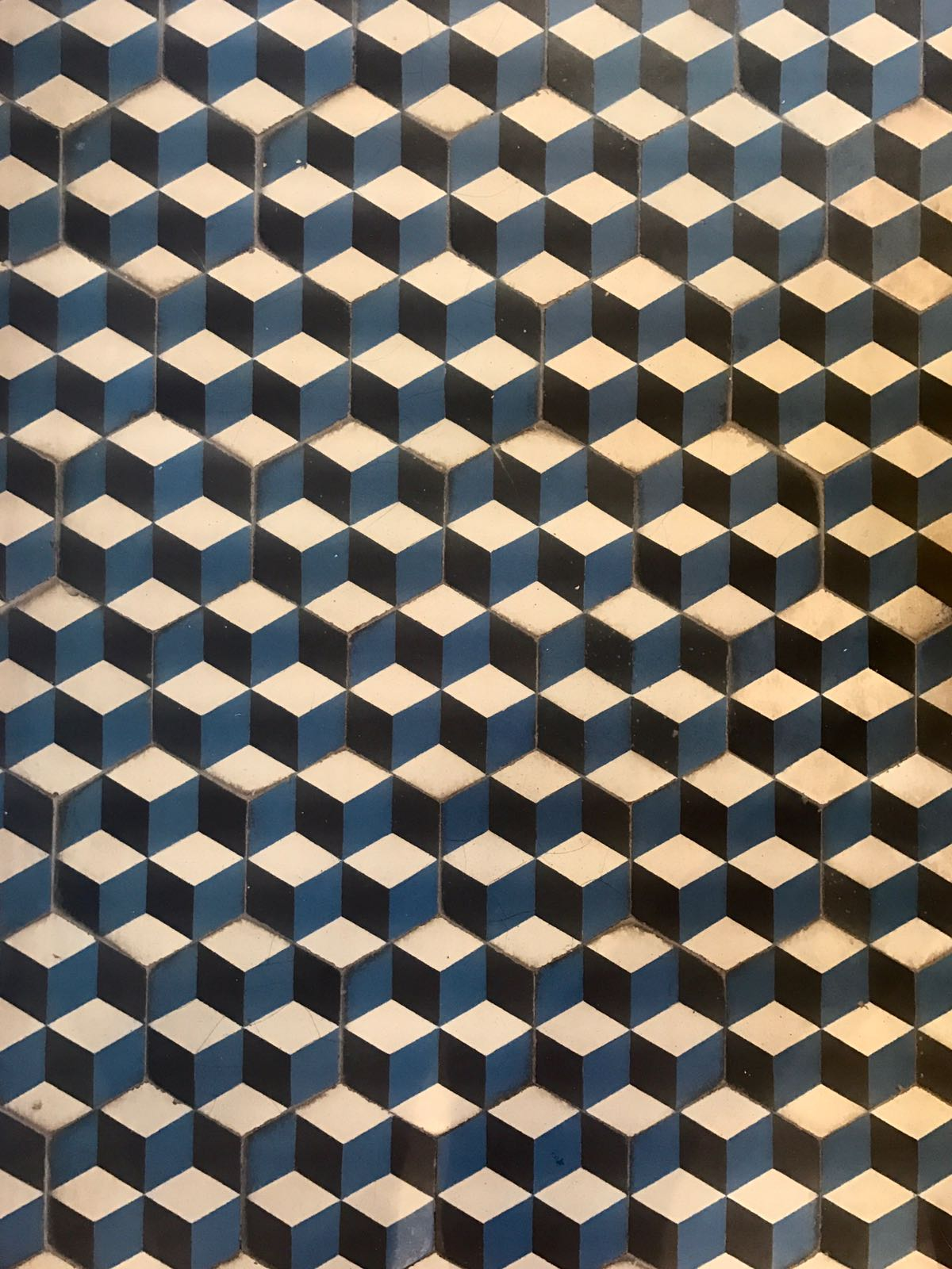 Blue, black and white tessellated tiles