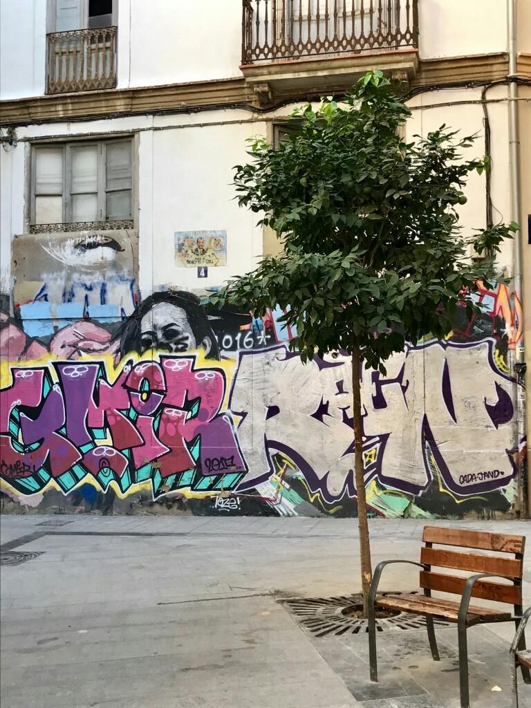 Graffiti alongside a tree and a chair