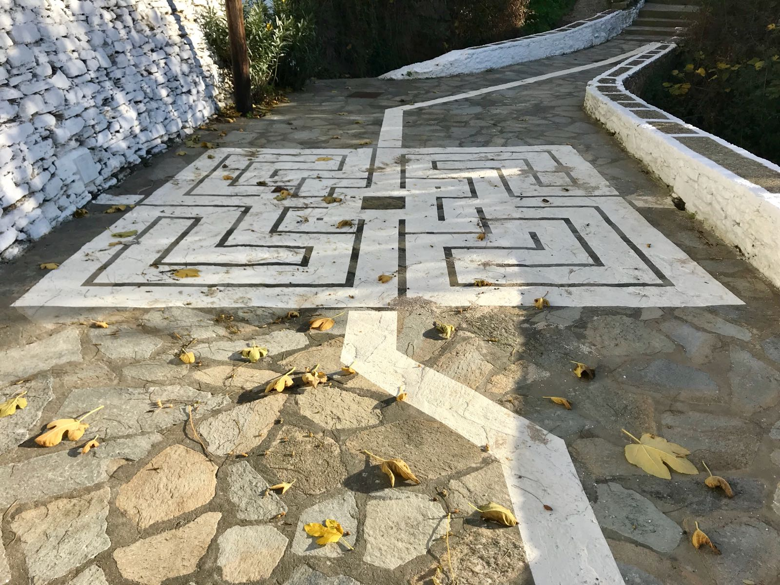 Maze on a pathway made from tiling