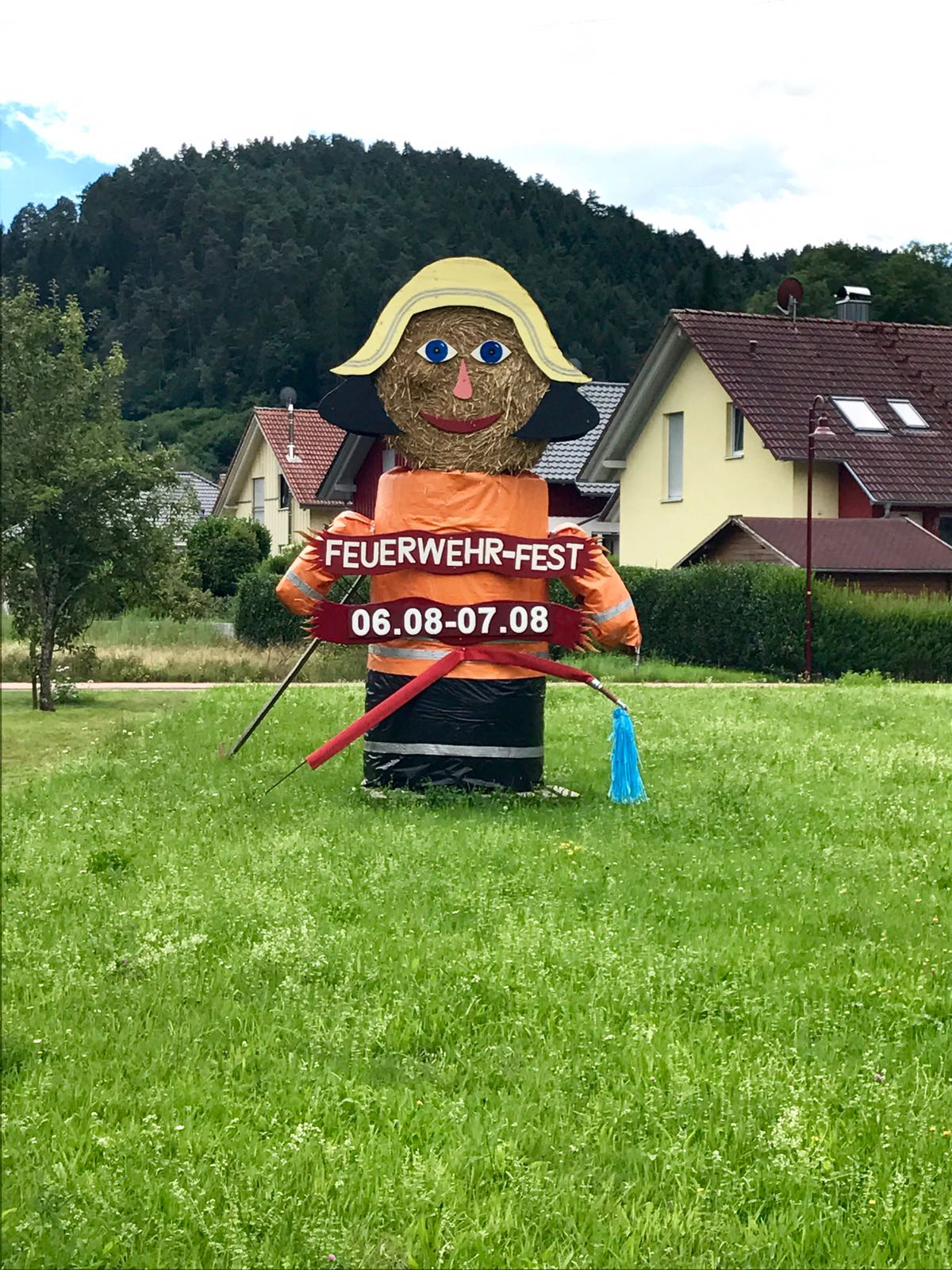 Fireman made out of hay for a fireman festival in the town of Gutach. Get it?