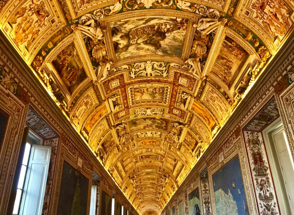 Ceiling in the Vatican museum made of hundreds of paintings and gold
